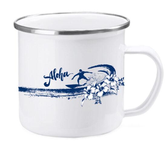 """Emaille Tasse """"Aloha"""" - Retro Becher für Camping, Wandern oder Surfen"""
